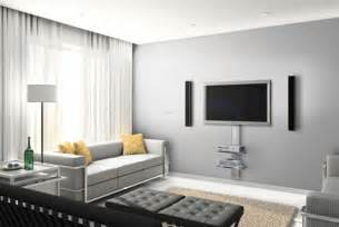 Tv installed on floor to ceiling pole in minimalistic living room