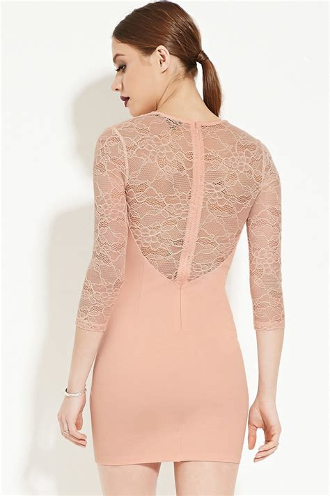Forever 21 Mini Dress Pink forever 21 lacy bodycon mini dress in pink lyst