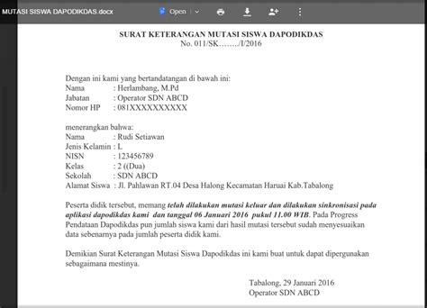 Contoh Surat Lamaran Kerja Kemdikbud 2014 by Surat Keterangan Mutasi Siswa Dapodikdas Kurikulum Nasional