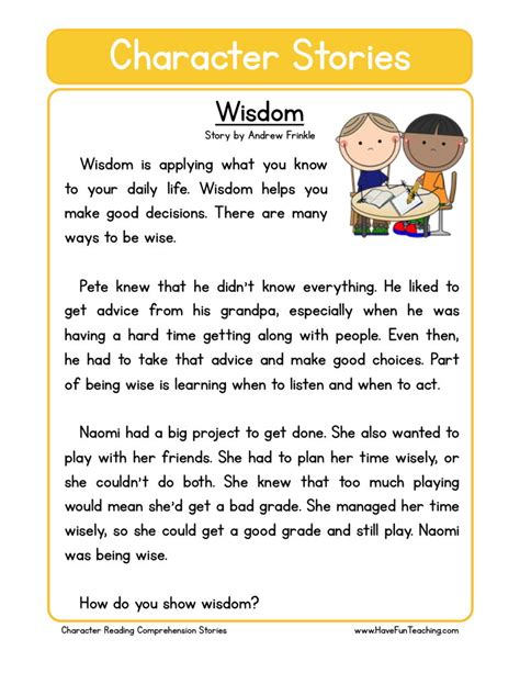 finding themes in short stories reading comprehension worksheet wisdom
