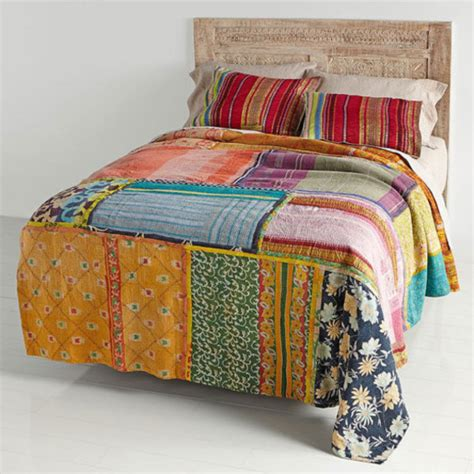 Coverlet Blanket Home Accessory Vintage Kantha Bedding Bed Cover