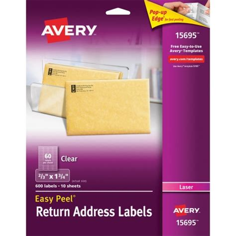 avery templates for return address labels avery easy peel return address label ave15695 shoplet com