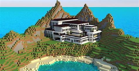 build a mansion modern mansion cliff side escape minecraft building inc