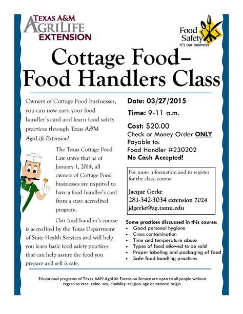 food handlers card template cottage food handler