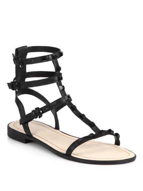 studded gladiator flat sandals lyst minkoff georgina studded flat gladiator