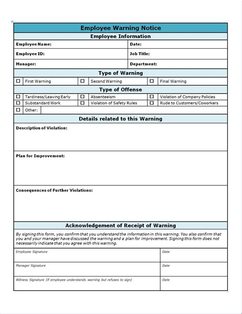 templates for employers employee warning write up invitation templates