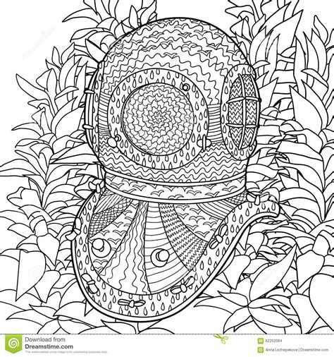 vintage geared charm coloring book books divers helmet in coloring pages for adults stock vector