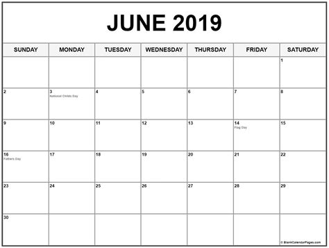 collection  june  calendars  holidays