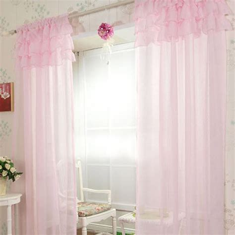 sheer light pink curtains ruffle curtain