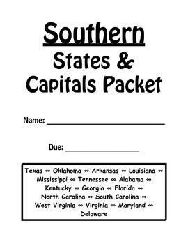 Southern States Mba Review by Southern States And Capitals Review Packet By Tolu Noah