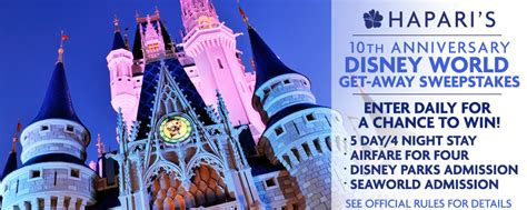 Disney World Vacation Sweepstakes - disney world vacation get away sweepstakes from hapari