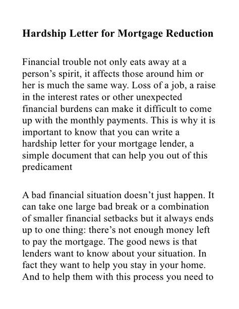 hardship letter mortgage reduction