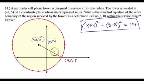 conic section application problems day 3 hw 11 circle word problem is the cell phone inside
