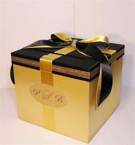 Glass Gift Card Box - wedding card box gold and black gift card box money box