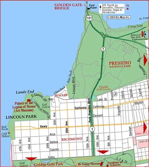 lincoln park sf road map of san francisco lands end lincoln park san