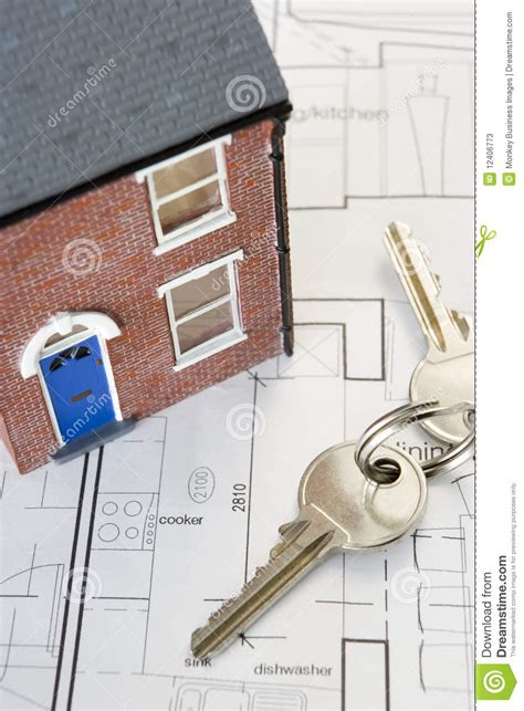 design home keys house with keys and plans stock photos image 12406773
