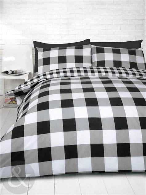 black and white checkered comforter gingham check duvet cover cotton blend reversible