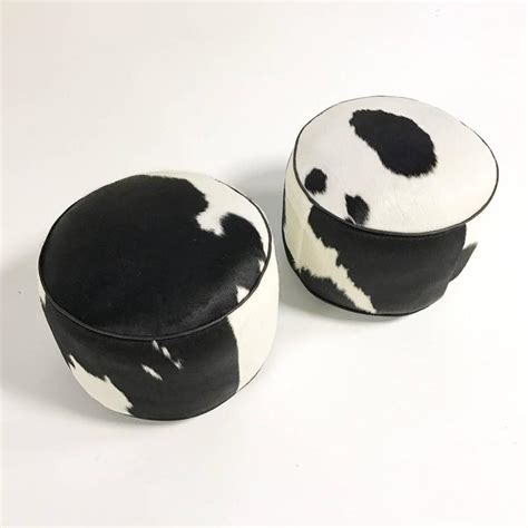 cowhide ottoman for sale black and white cowhide pouf ottoman for sale at 1stdibs