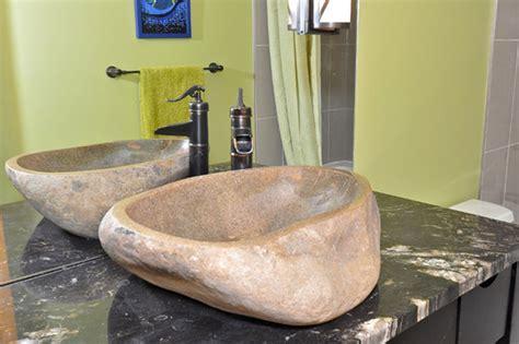 river rocks in bathroom sink river rock boulder sink contemporary bathroom