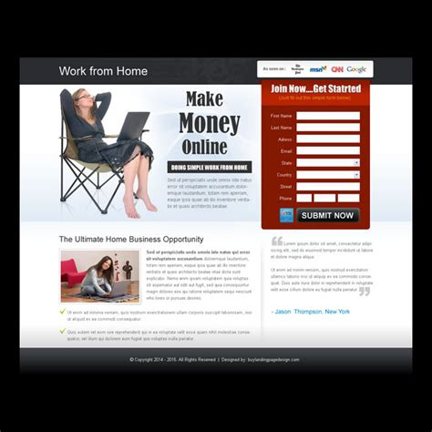 design online and earn money work from home landing page design template exle to