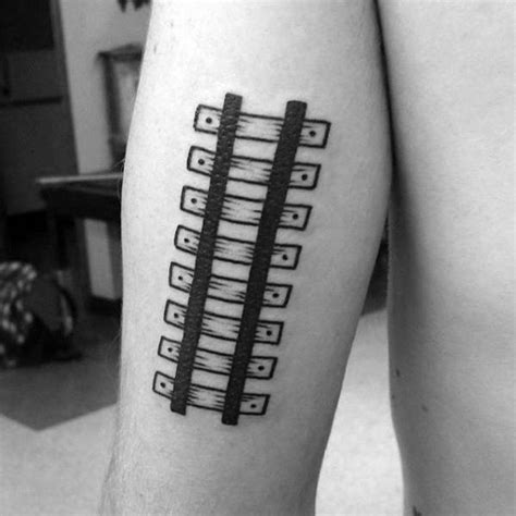 train track tattoo 40 simple arm tattoos for guys cool masculine design ideas