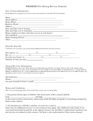 Pet Sitting Business Forms Fill Online Printable Fillable Blank Pdffiller Kitten Contract Template