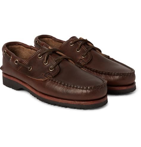 quoddy boat shoes quoddy leather boat shoes in brown for men lyst