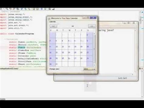 java swing calendar exle making a calendar using java youtube