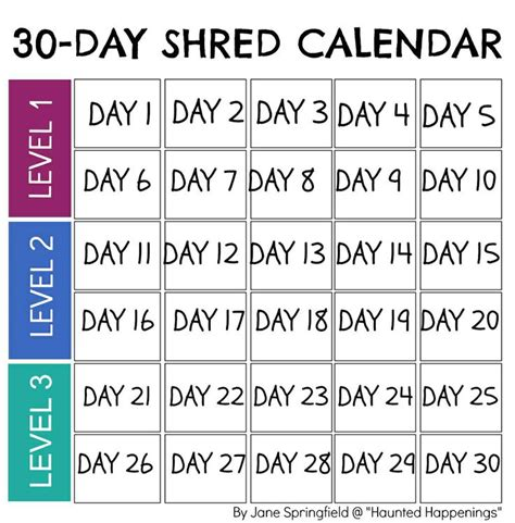 calendar template for jillian michael s quot 30 day shred quot to