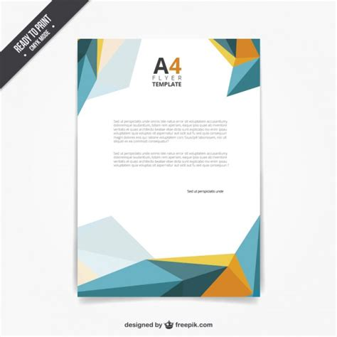 flyer template in polygonal style vector free download