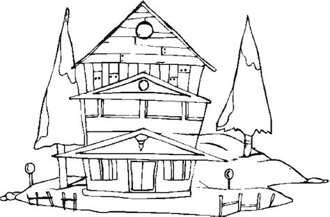 coloring pages winter house house in winter coloring pages