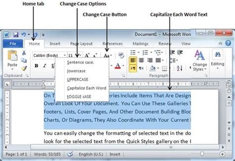 tutorialspoint ms word change text cases in word 2010