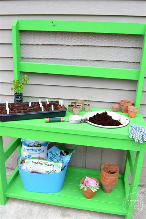 make your own bench diy potting bench made entirely of 2 x 4s refresh living