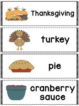 thanksgiving words great for a pocket chart word wall or flash cards includes 20 thanksgiving