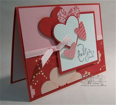 Handmade Valentines Card Design - layered hearts and patterned paper s card