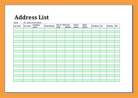 contact list template pdf 6 address book template resume pdf