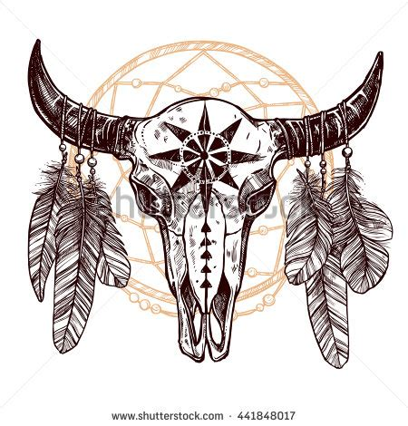 buffalo skull tattoo boho buffalo skull with feathers and dreamcatcher