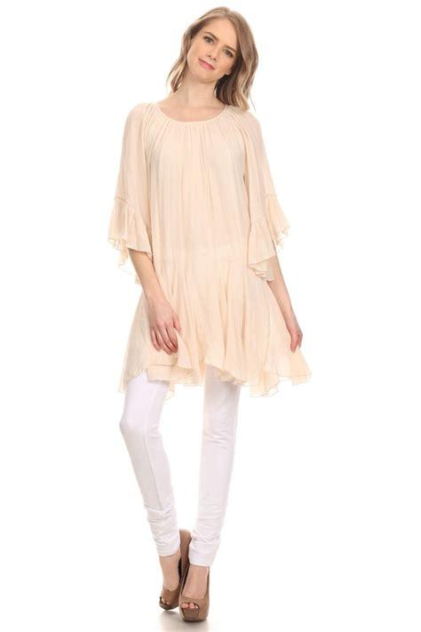 1903 Tunik Babydoll Big Xl boho hippie chic dress beige comfy fitting tunic