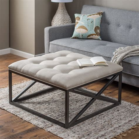 Tufted Coffee Table Ottoman White Upholstered Diy Tufted Ottoman Coffe Table With Black Metal Base On Gray Carpet Tiles In