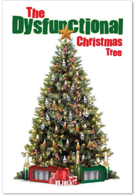 dysfunctional xmas tree red rocket funny christmas card