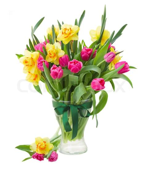 Vase Suppliers Bouquet Of Pink Tulips And Yellow Daffodils In Vase