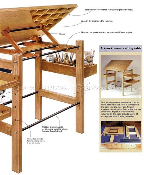 knockdown drafting table plans woodarchivist