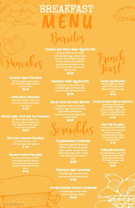 Copy Of Yellow Breakfast Menu Template Postermywall Menu Poster Template Free