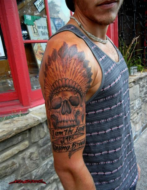 native american skull tattoo american indian chief