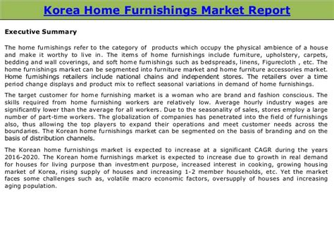 Home Decor Market Korean Home Furnishings Market Size Trends Forecasts 2016 2020