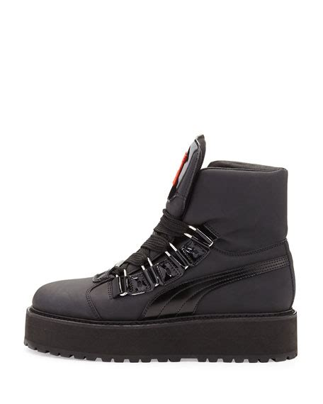fenty by rihanna rubberized leather sneaker boot black
