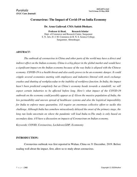(PDF) CORONAVIRUS THE IMPACT OF COVID-19 ON INDIA ECONOMY