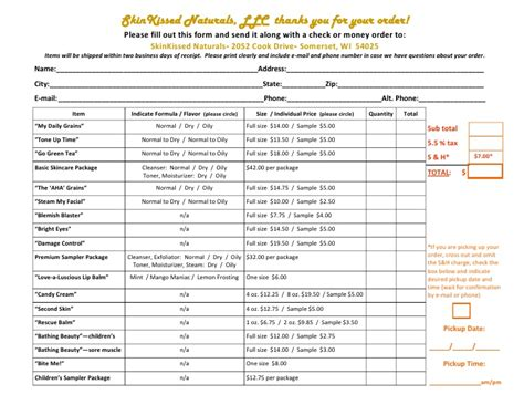 printable mary kay order forms mary kay order form