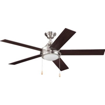 seasons brand ceiling fans seasons 174 52 quot single mount ceiling fan brushed nickel led