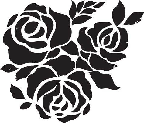 printable stencil designs flowers rose flower stencils printable for decoration activity